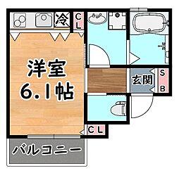 阪急神戸本線 王子公園駅 徒歩10分の賃貸アパート 2階ワンルームの間取り