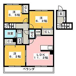 パームヒルズ高宮[2階]の間取り