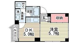 品川第6マンション[403号室]の間取り