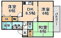 兵庫県伊丹市御願塚8丁目の賃貸アパートの間取り