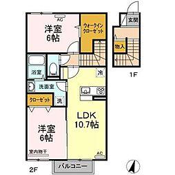 (仮)D-room喜多川A棟 2階2LDKの間取り