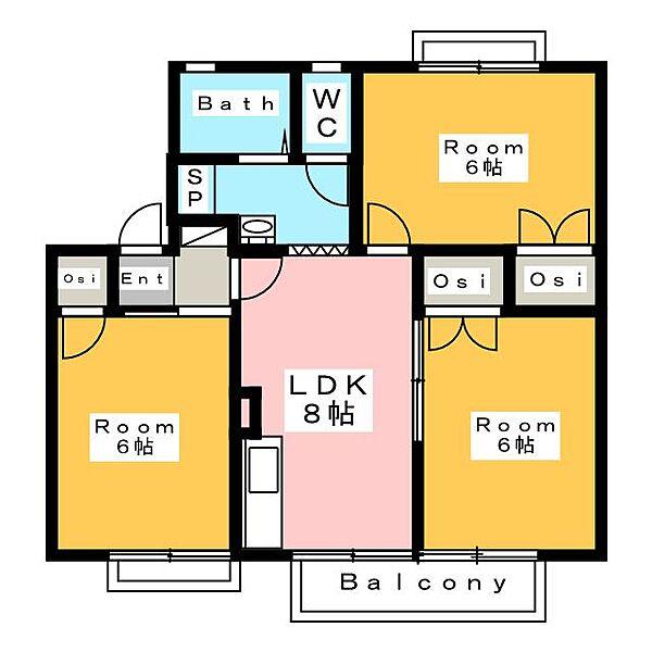 メゾンエルフB棟[2階]の間取り