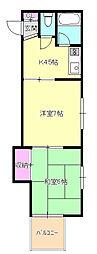 東京都八王子市元本郷町2丁目の賃貸アパートの間取り