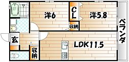 福岡県北九州市若松区大字塩屋の賃貸アパートの間取り
