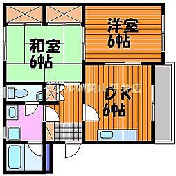 岡山県岡山市東区君津の賃貸マンションの間取り