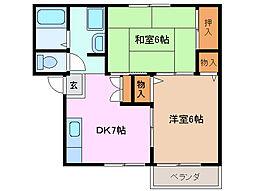 ルミエール阪本[1階]の間取り