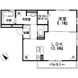 神奈川県川崎市麻生区千代ケ丘1丁目の賃貸アパートの間取り