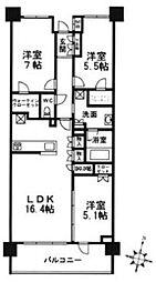 プラウド香櫨園[3F号室]の間取り