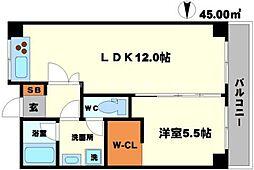 緑地JIRO2 1階1LDKの間取り