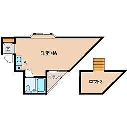 奈良県生駒市あすか野南1丁目の賃貸アパートの間取り