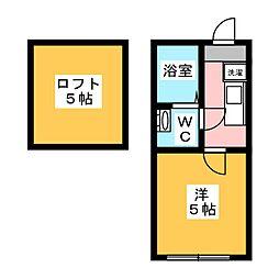 Felice Ikuta 1階1Kの間取り