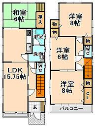 [一戸建] 兵庫県伊丹市北野2丁目 の賃貸【/】の間取り