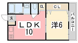 長田コーポ[202号室]の間取り