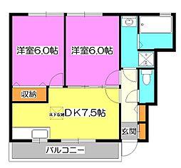 東京都清瀬市中里2丁目の賃貸アパートの間取り