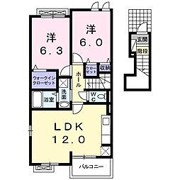 クレシィス 2階2LDKの間取り
