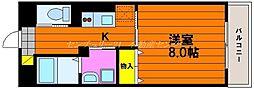 JR山陽本線 岡山駅 徒歩15分の賃貸マンション 4階1Kの間取り
