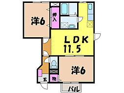 愛媛県松山市生石町の賃貸アパートの間取り