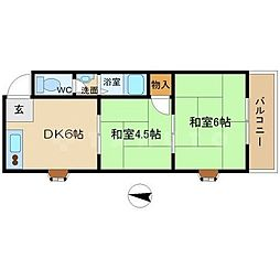 第三ロックマンション[2階]の間取り