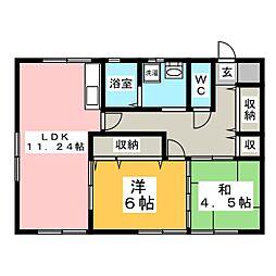 乙女荘[1階]の間取り