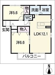 パークサイドハイツE棟[2階]の間取り