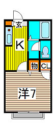 埼玉県さいたま市中央区大戸4丁目の賃貸アパートの間取り