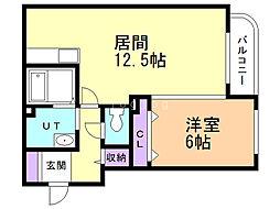 FUKUTOKU 3階1LDKの間取り