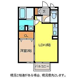 セジュール・シャノール 2階1DKの間取り