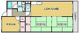 大阪府吹田市岸部北2丁目の賃貸マンションの間取り