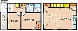 ノースフォレストK 2LDK[1階]の間取り