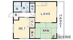 中牟田アパート[102号室]の間取り