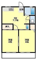 愛知県豊田市田中町2丁目の賃貸アパートの間取り