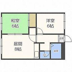 ラフォーレ新札幌B[4階]の間取り