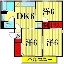 埼玉県川口市安行の賃貸アパートの間取り