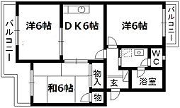 静岡県浜松市中区住吉2丁目の賃貸マンションの間取り