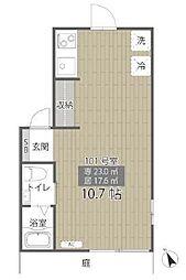 東京メトロ有楽町線 江戸川橋駅 徒歩10分の賃貸アパート 1階ワンルームの間取り