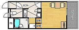 レオパレスASEBAII 2階1Kの間取り