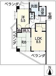 ロイヤル杁中[3階]の間取り