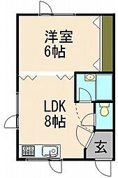 北海道小樽市奥沢1丁目の賃貸アパートの間取り