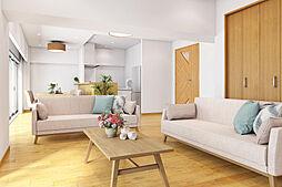 家具を置いたイメージ図です。南向き24帖のワイドリビングは家族団らんの場に最適です。