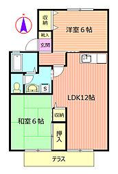 クリスタルハウスA[103号室]の間取り