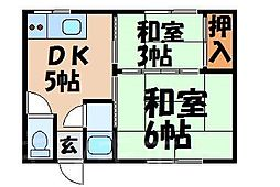 広島県広島市安芸区船越南2丁目の賃貸アパートの間取り