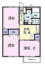 グリーンコート2番館[1階]の間取り