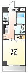 岡山電気軌道清輝橋線 大雲寺前駅 徒歩6分の賃貸マンション 2階1Kの間取り