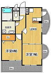 ペンディーオ小笹[3階]の間取り