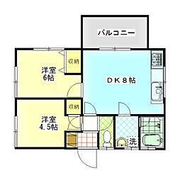 西舘ハウス[3F号室]の間取り
