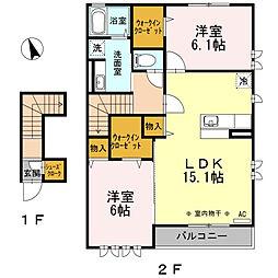 プーラヴィーダB棟203号室[2階]の間取り