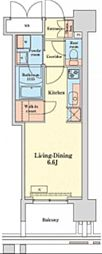 グランドプレシア芝浦 14階ワンルームの間取り