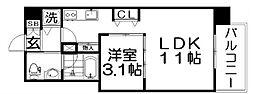 ロッカベラアパートメント 4階1LDKの間取り