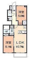 江ノ島電鉄 藤沢駅 バス7分 小塚下車 徒歩3分の賃貸アパート 1階2LDKの間取り