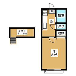 ホワイトキャッスル遠見塚12番館[2階]の間取り